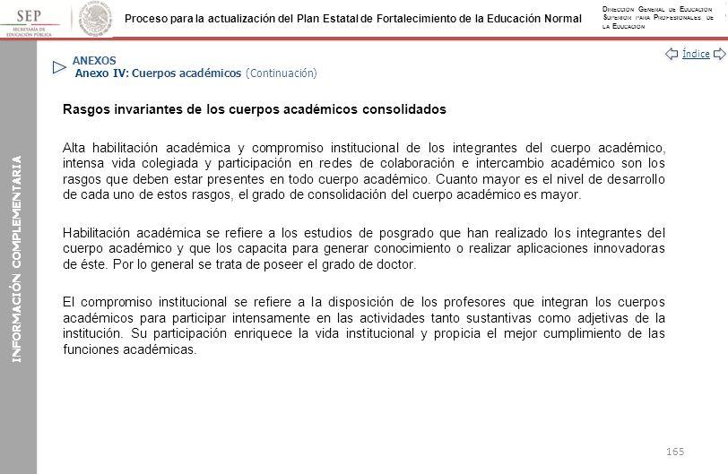 ANEXOS Anexo IV: Cuerpos académicos (Continuación)