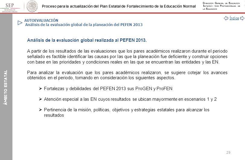 Análisis de la evaluación global realizada al PEFEN 2013.