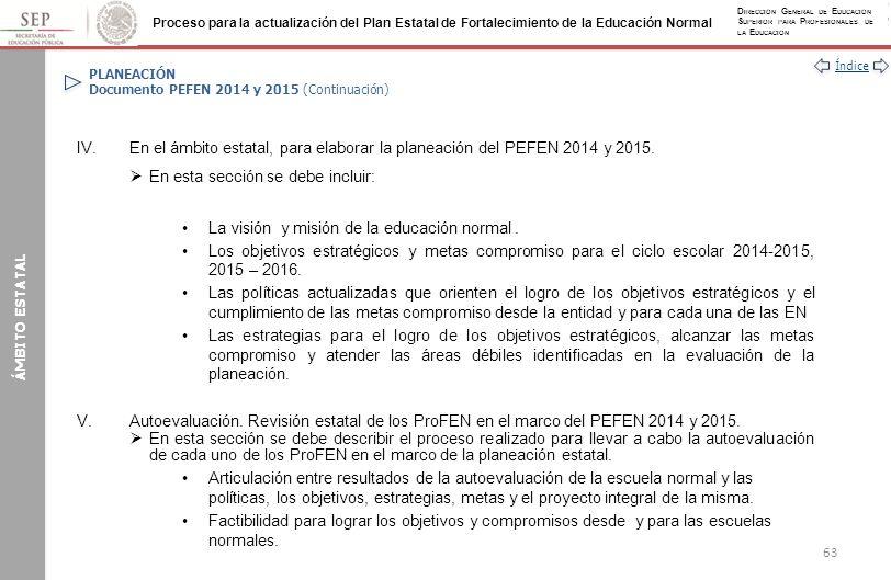 PLANEACIÓN Documento PEFEN 2014 y 2015 (Continuación)