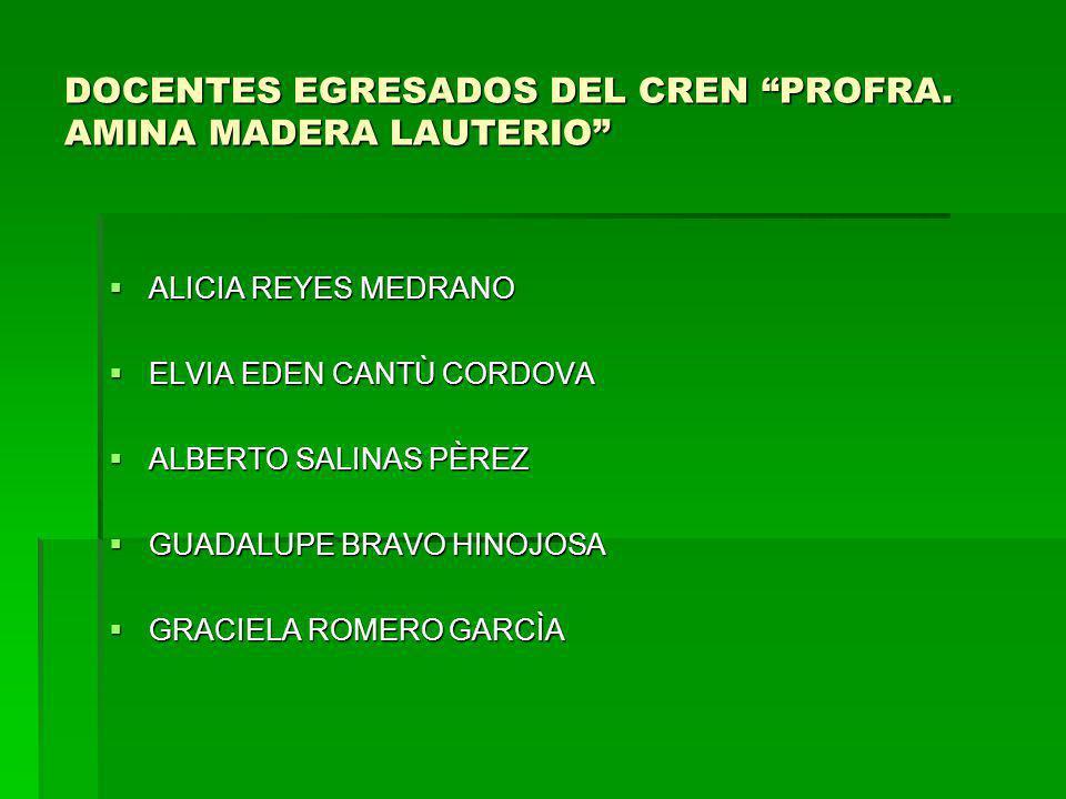DOCENTES EGRESADOS DEL CREN PROFRA. AMINA MADERA LAUTERIO