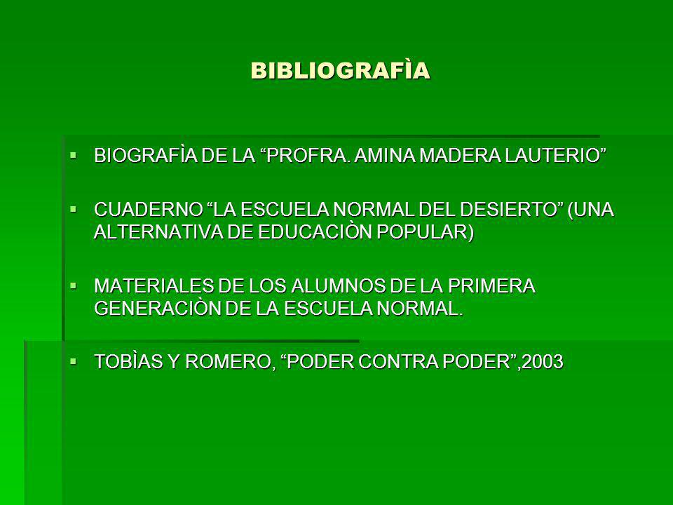BIBLIOGRAFÌA BIOGRAFÌA DE LA PROFRA. AMINA MADERA LAUTERIO