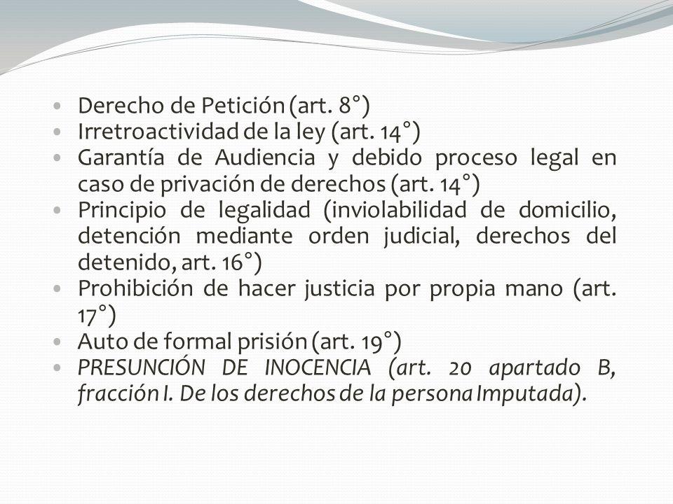 Derecho de Petición (art. 8°)