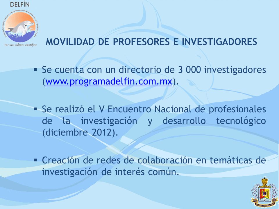 MOVILIDAD DE PROFESORES E INVESTIGADORES