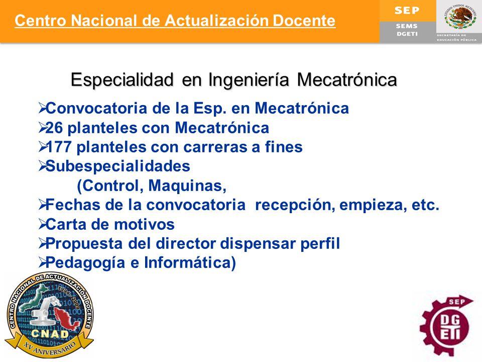 Especialidad en Ingeniería Mecatrónica