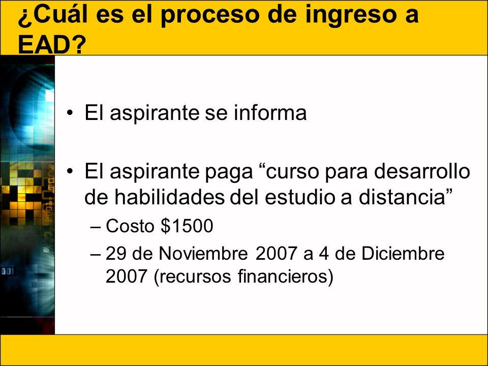 ¿Cuál es el proceso de ingreso a EAD