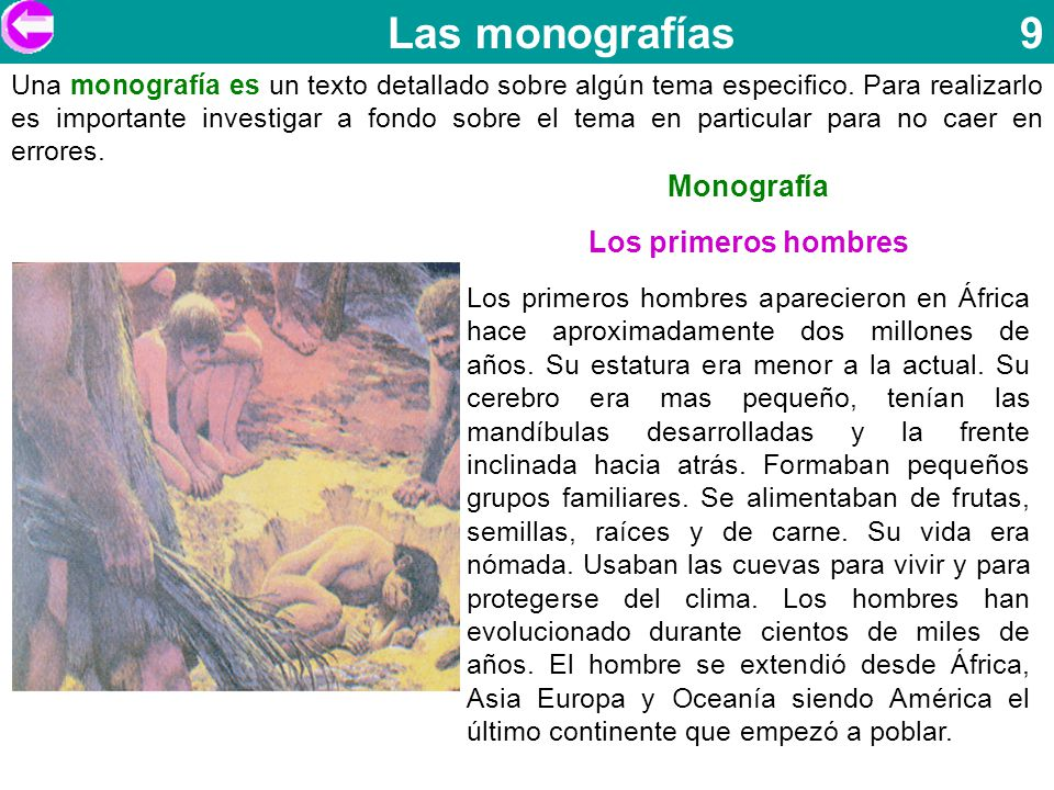 Las monografías 9 Monografía Los primeros hombres