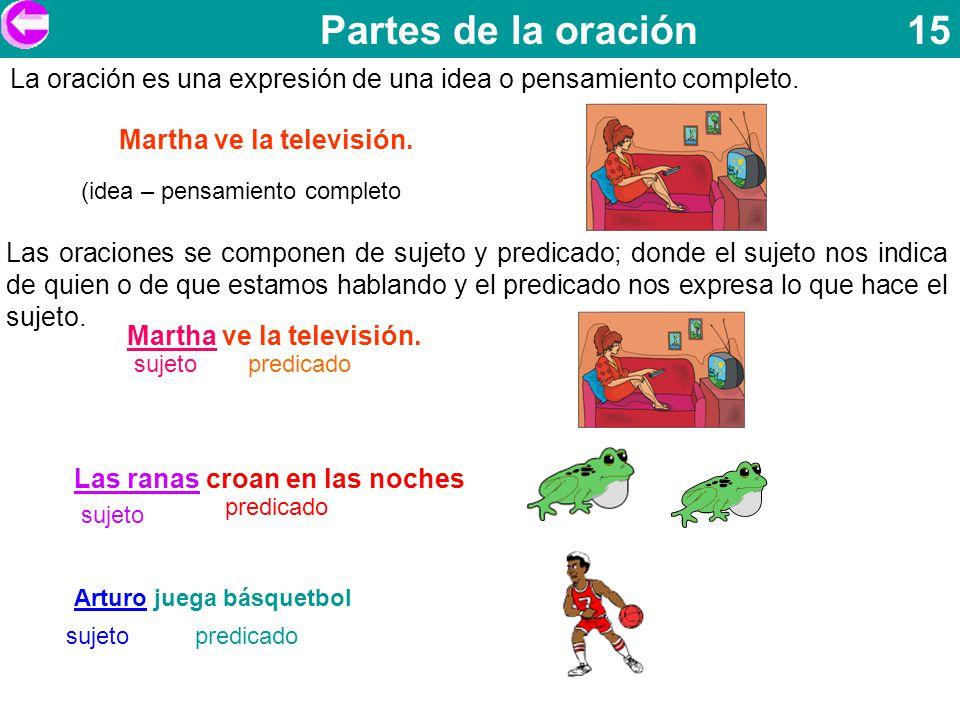 Partes de la oración 15 Martha ve la televisión. La oración es una expresión de una idea o pensamiento completo.
