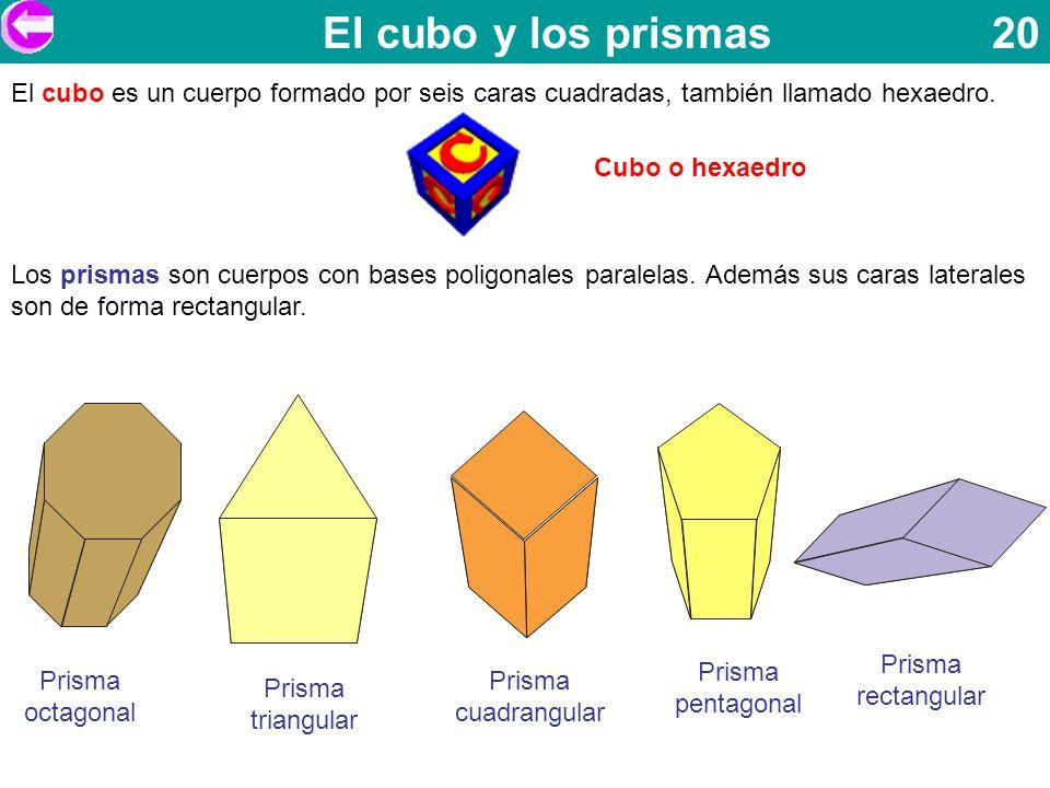 El cubo y los prismas 20 El cubo es un cuerpo formado por seis caras cuadradas, también llamado hexaedro.