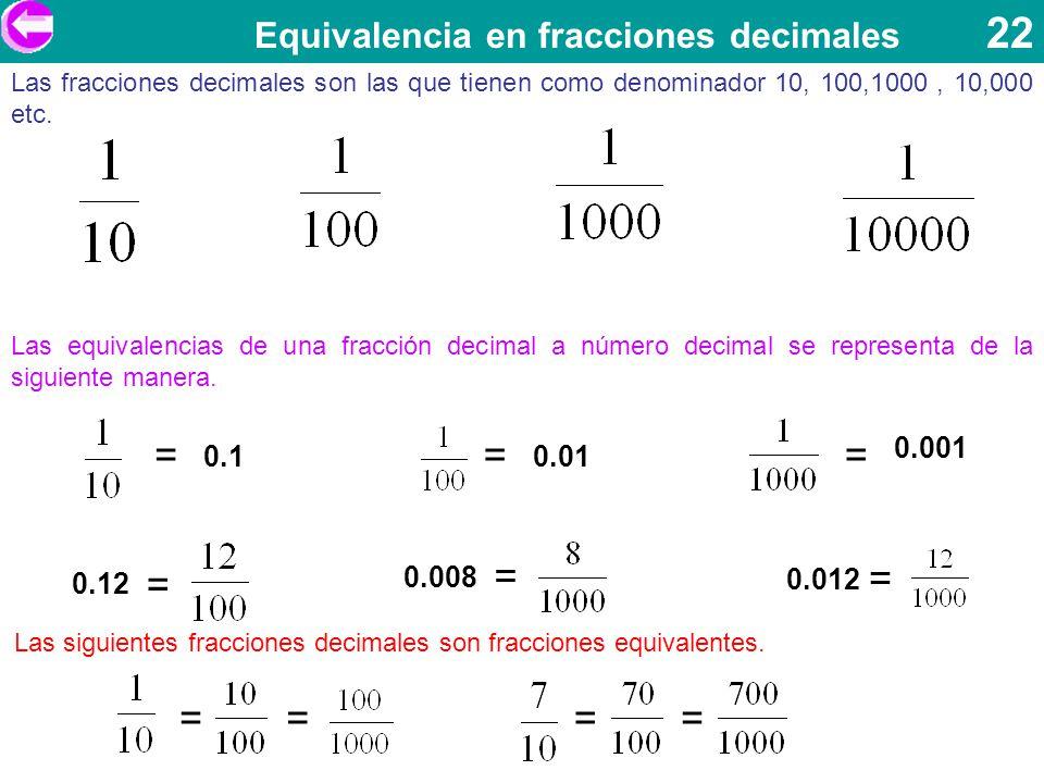= = = = = = = = Equivalencia en fracciones decimales 22 0.1 0.001 0.01