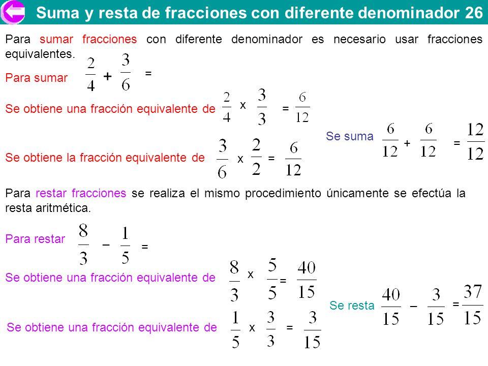Suma y resta de fracciones con diferente denominador 26