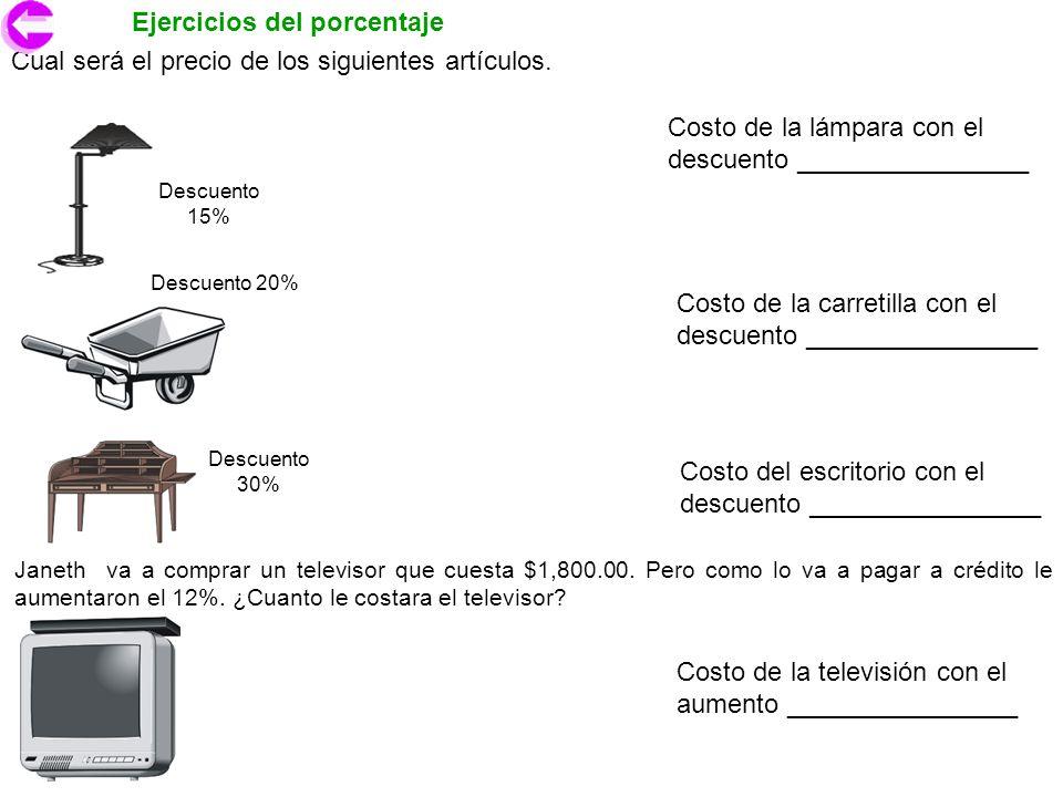 Ejercicios del porcentaje