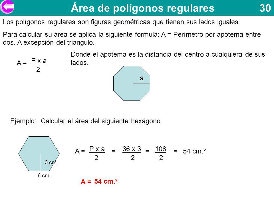 Área de polígonos regulares 30