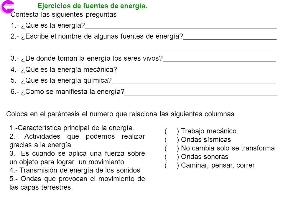 Ejercicios de fuentes de energía.