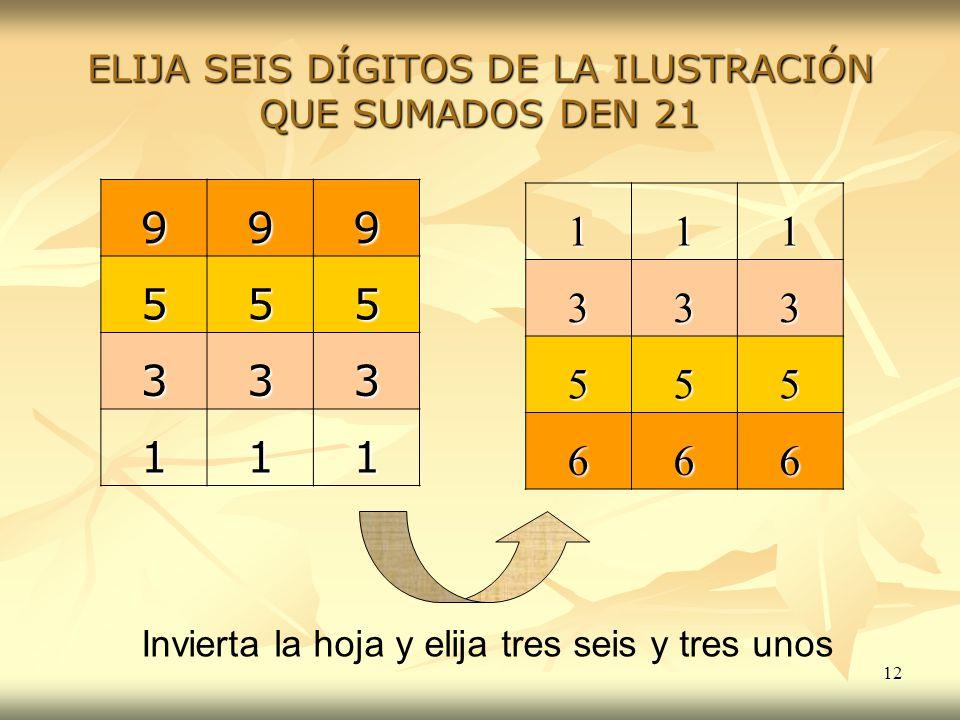 ELIJA SEIS DÍGITOS DE LA ILUSTRACIÓN QUE SUMADOS DEN 21