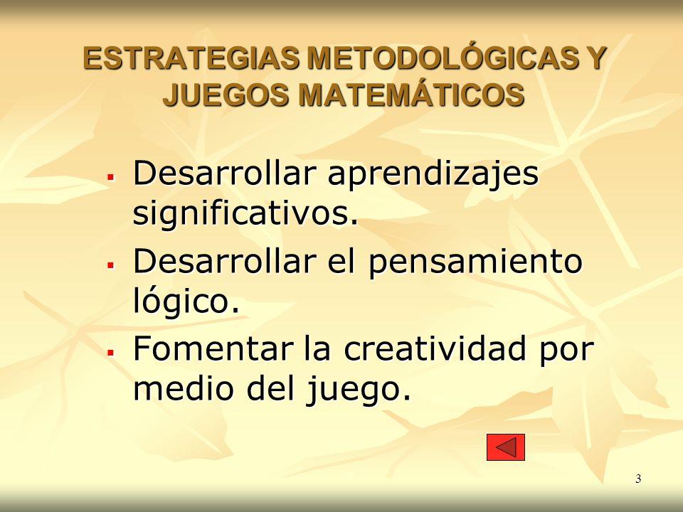 ESTRATEGIAS METODOLÓGICAS Y JUEGOS MATEMÁTICOS