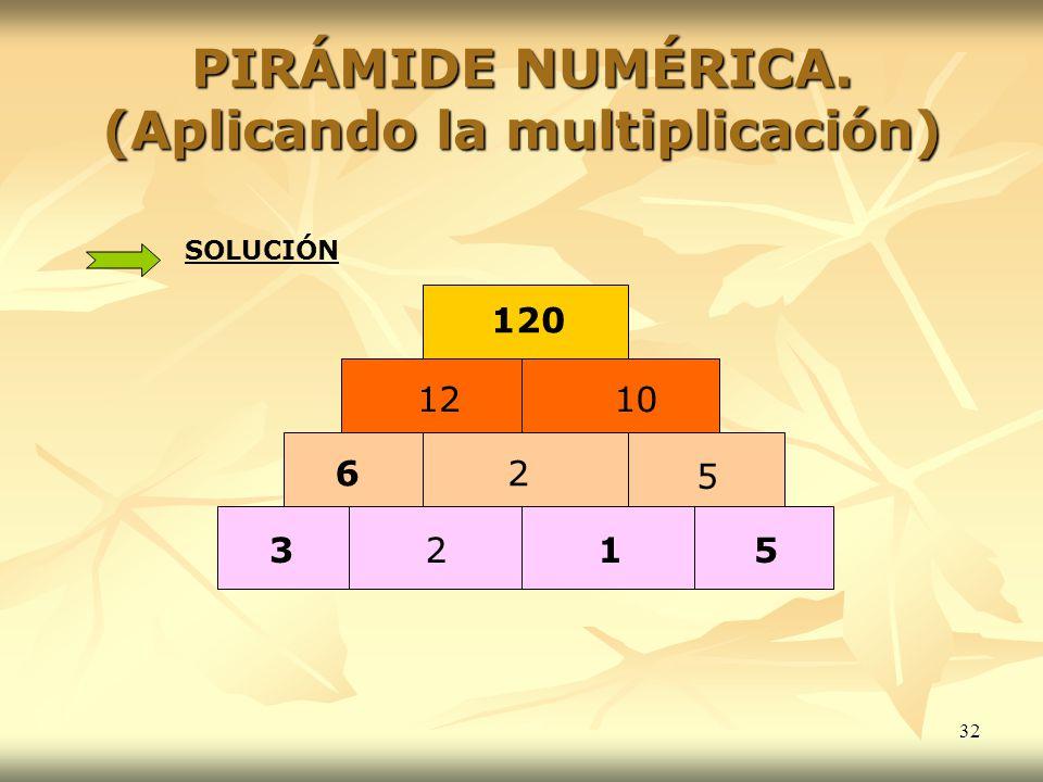PIRÁMIDE NUMÉRICA. (Aplicando la multiplicación)
