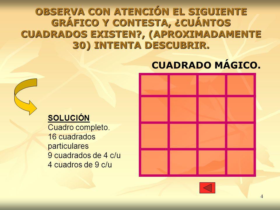 OBSERVA CON ATENCIÓN EL SIGUIENTE GRÁFICO Y CONTESTA, ¿CUÁNTOS CUADRADOS EXISTEN , (APROXIMADAMENTE 30) INTENTA DESCUBRIR.
