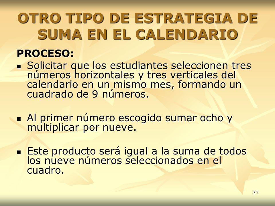 OTRO TIPO DE ESTRATEGIA DE SUMA EN EL CALENDARIO