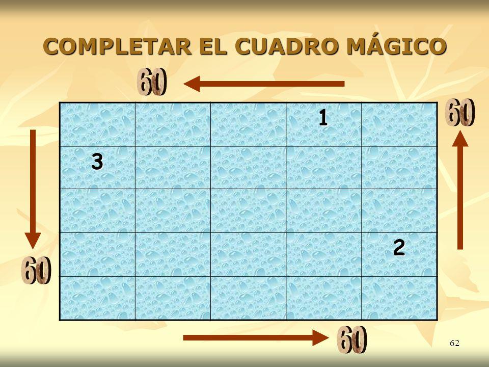 COMPLETAR EL CUADRO MÁGICO