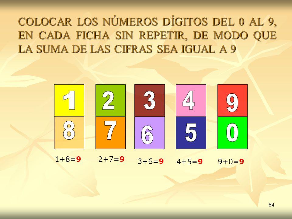COLOCAR LOS NÚMEROS DÍGITOS DEL 0 AL 9, EN CADA FICHA SIN REPETIR, DE MODO QUE LA SUMA DE LAS CIFRAS SEA IGUAL A 9