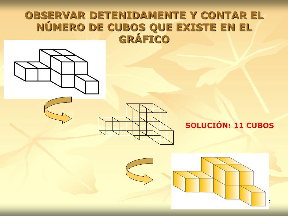OBSERVAR DETENIDAMENTE Y CONTAR EL NÚMERO DE CUBOS QUE EXISTE EN EL GRÁFICO