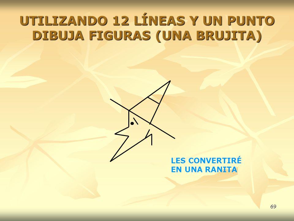 UTILIZANDO 12 LÍNEAS Y UN PUNTO DIBUJA FIGURAS (UNA BRUJITA)