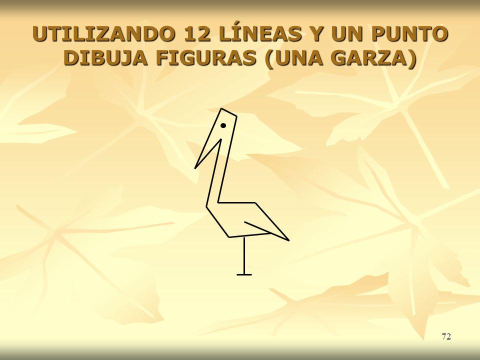 UTILIZANDO 12 LÍNEAS Y UN PUNTO DIBUJA FIGURAS (UNA GARZA)