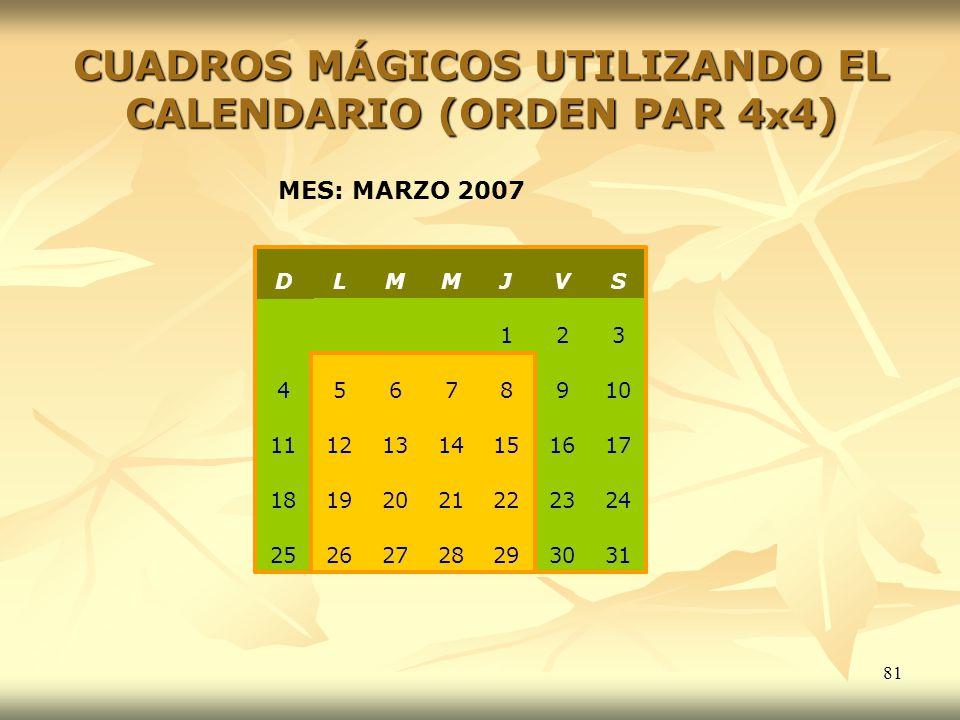 CUADROS MÁGICOS UTILIZANDO EL CALENDARIO (ORDEN PAR 4x4)
