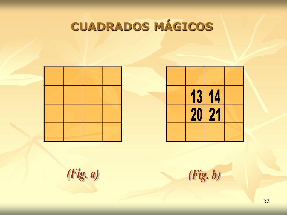 CUADRADOS MÁGICOS 13 14 20 21 (Fig. a) (Fig. b)