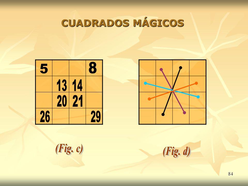 CUADRADOS MÁGICOS 8 5 13 14 20 21 26 29 (Fig. c) (Fig. d)