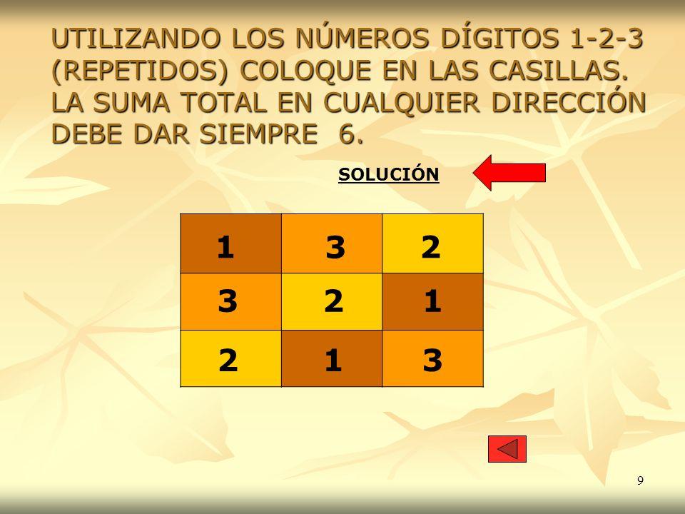 UTILIZANDO LOS NÚMEROS DÍGITOS 1-2-3 (REPETIDOS) COLOQUE EN LAS CASILLAS. LA SUMA TOTAL EN CUALQUIER DIRECCIÓN DEBE DAR SIEMPRE 6.