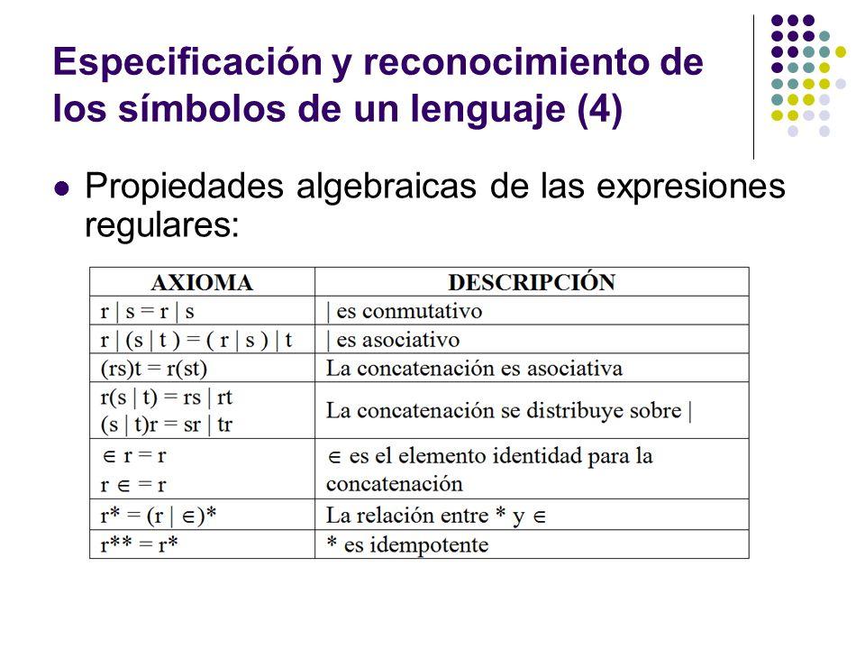 Especificación y reconocimiento de los símbolos de un lenguaje (4)