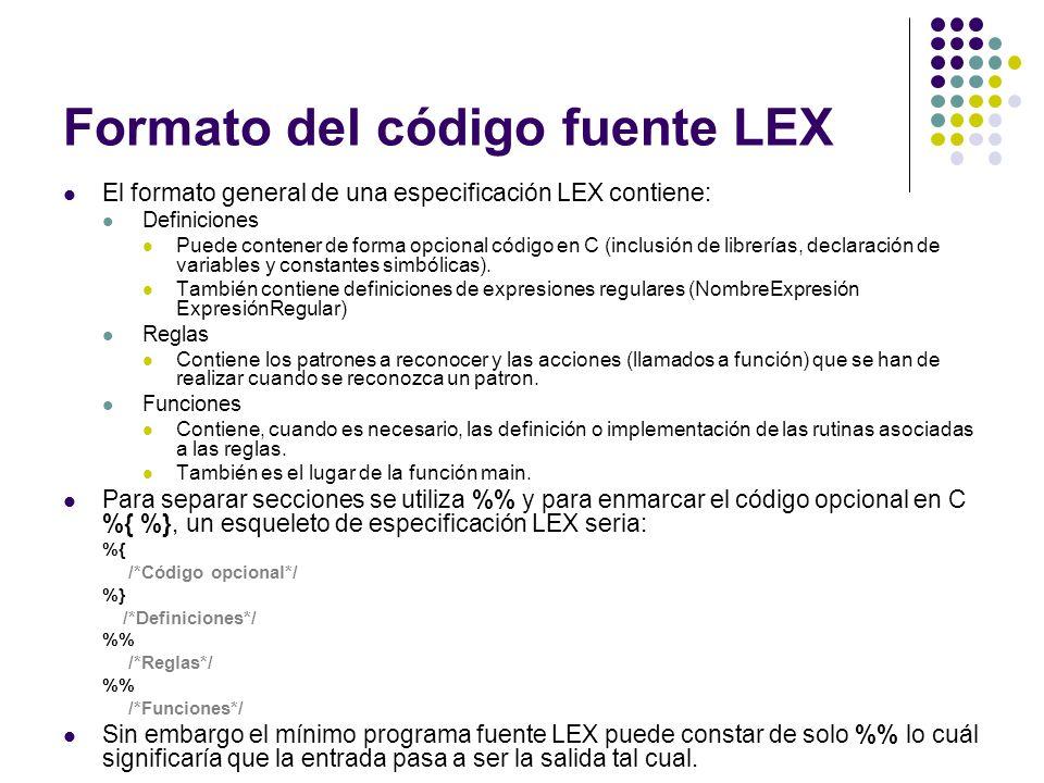 Formato del código fuente LEX