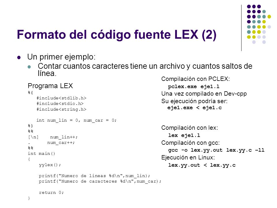 Formato del código fuente LEX (2)