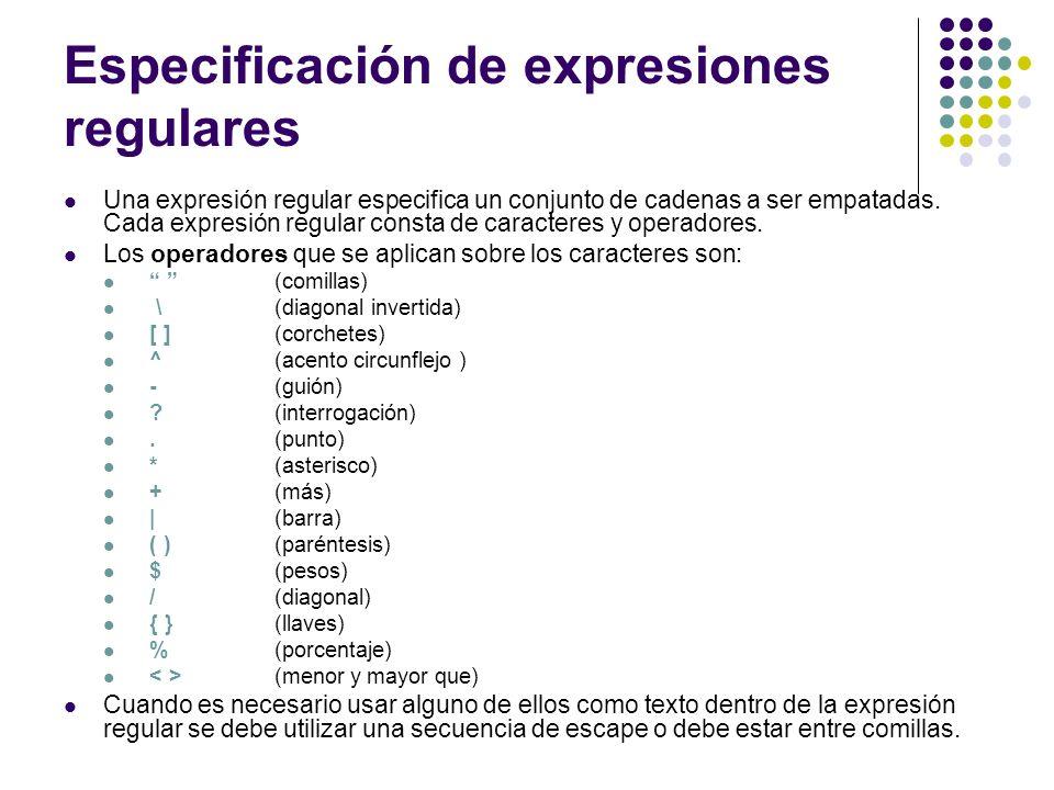 Especificación de expresiones regulares