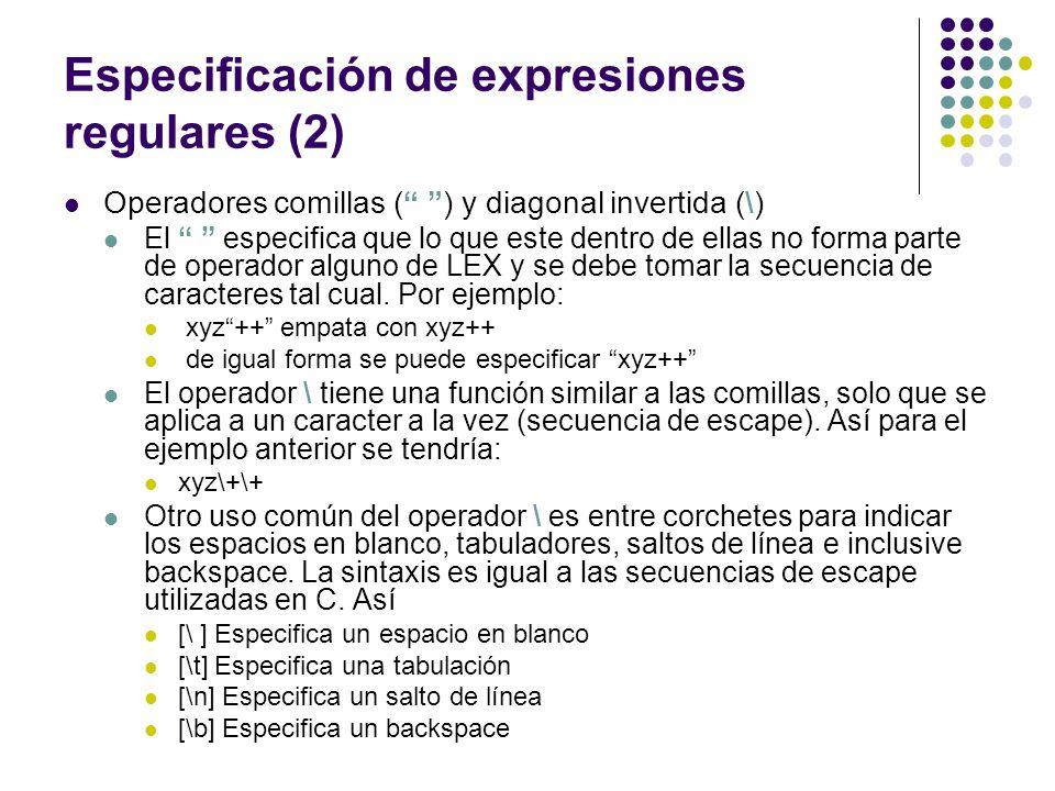 Especificación de expresiones regulares (2)