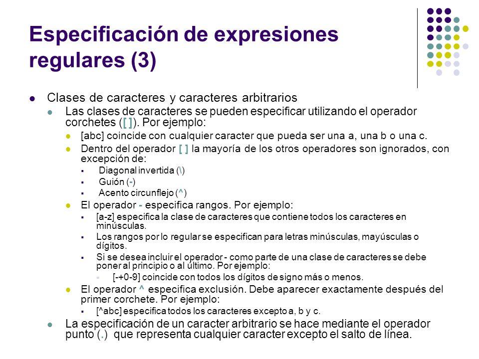 Especificación de expresiones regulares (3)