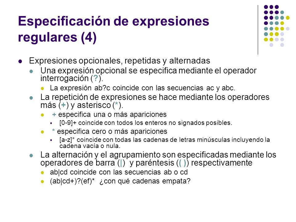 Especificación de expresiones regulares (4)