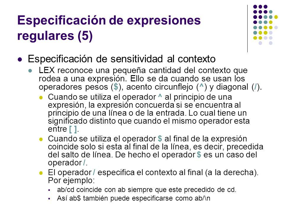 Especificación de expresiones regulares (5)