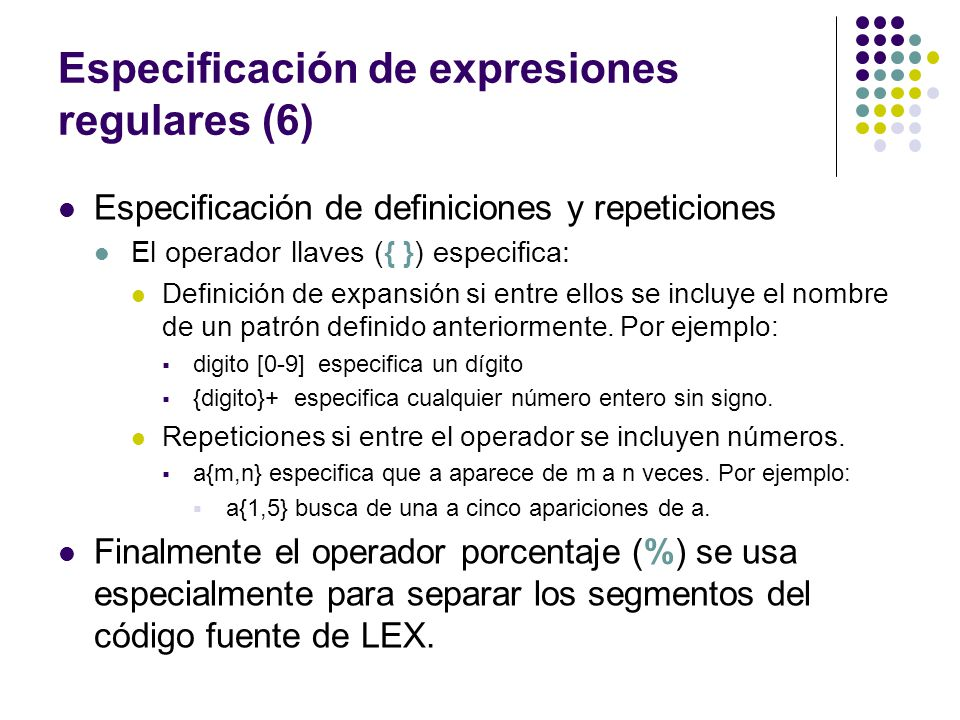 Especificación de expresiones regulares (6)