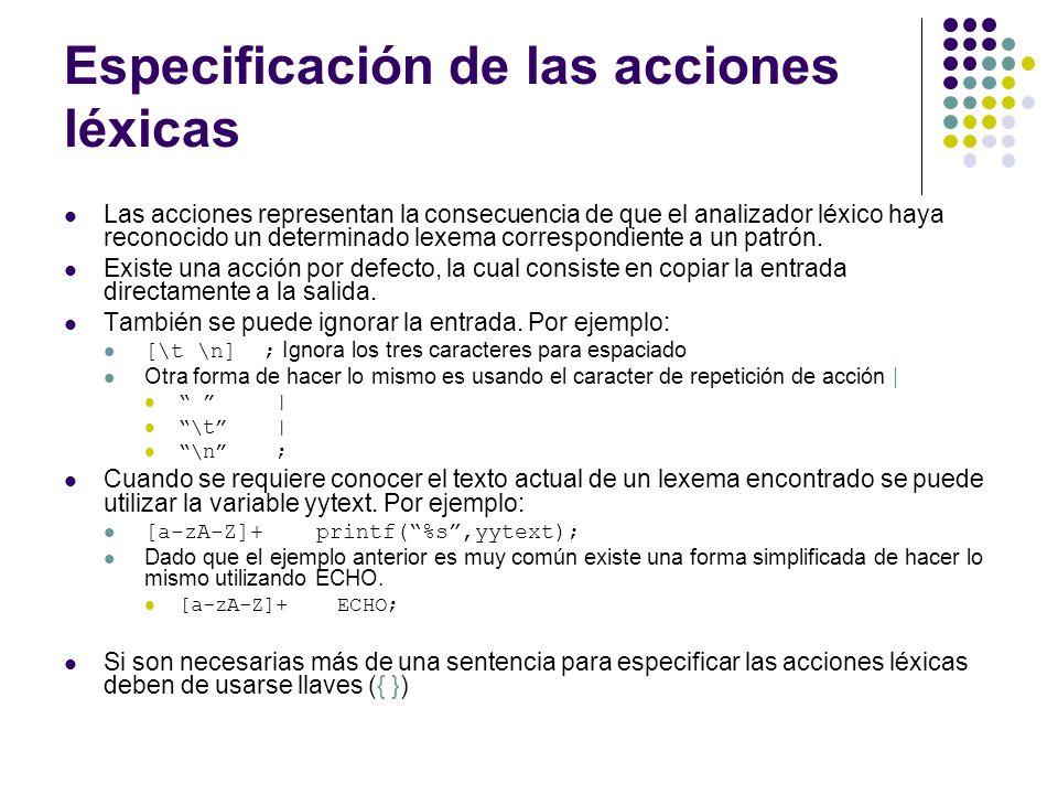 Especificación de las acciones léxicas