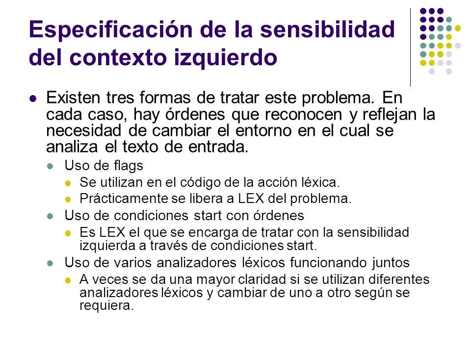 Especificación de la sensibilidad del contexto izquierdo