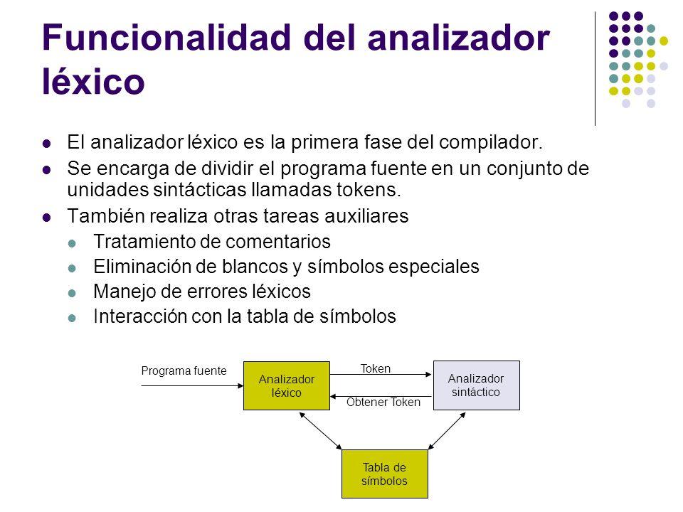 Funcionalidad del analizador léxico