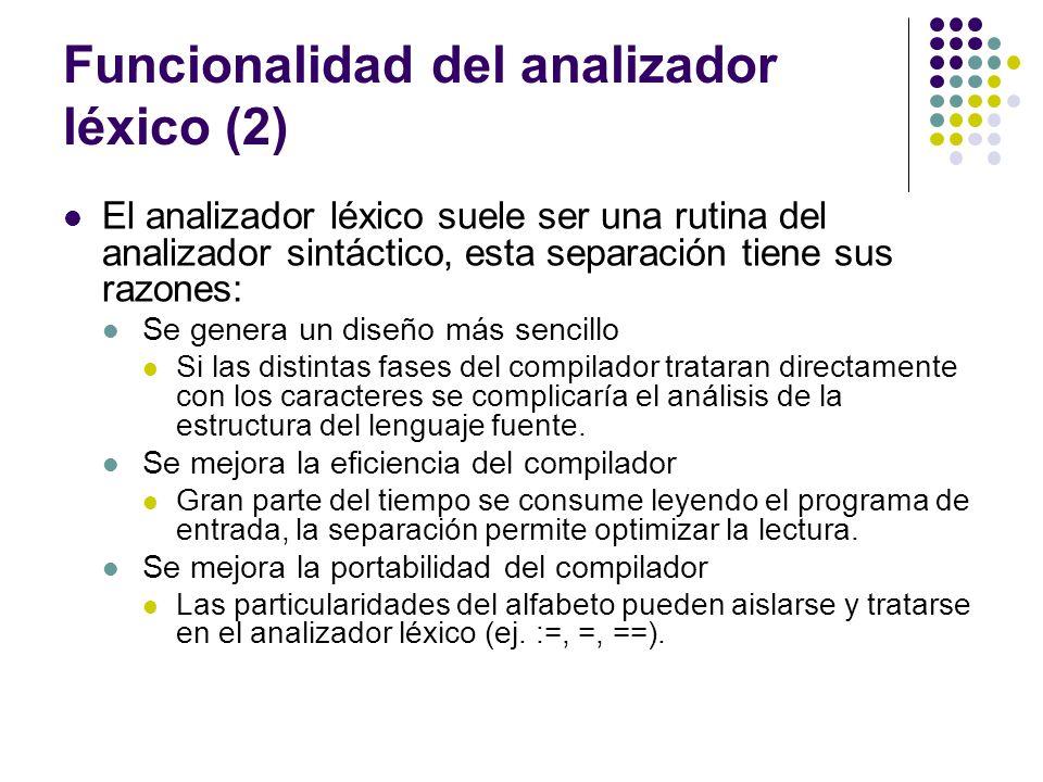 Funcionalidad del analizador léxico (2)