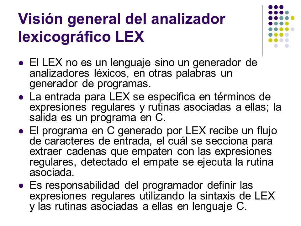 Visión general del analizador lexicográfico LEX