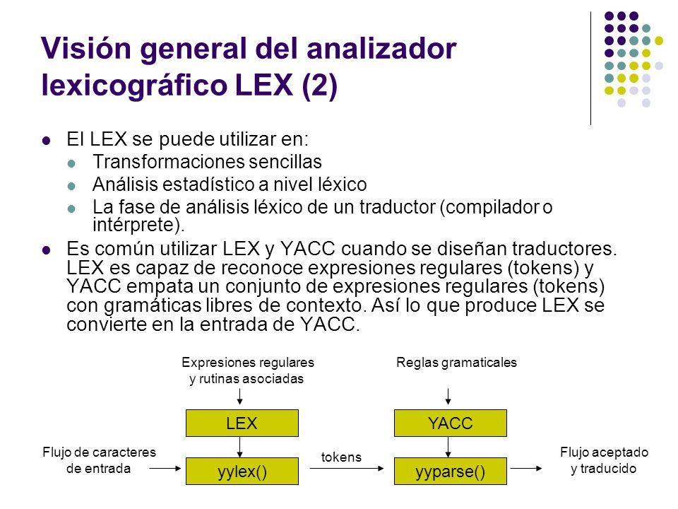 Visión general del analizador lexicográfico LEX (2)
