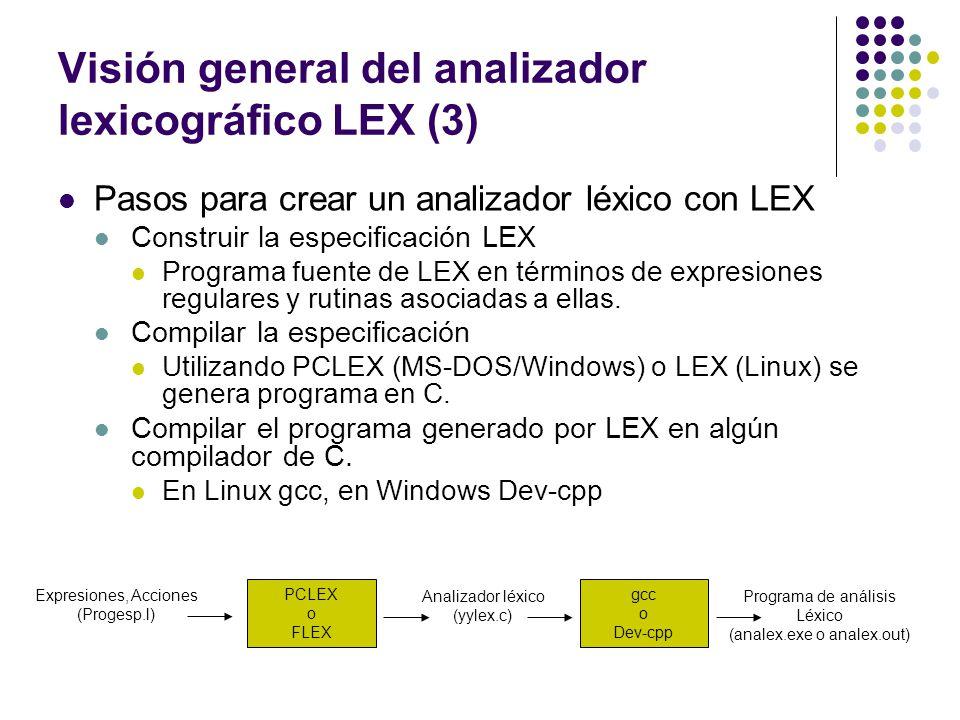 Visión general del analizador lexicográfico LEX (3)