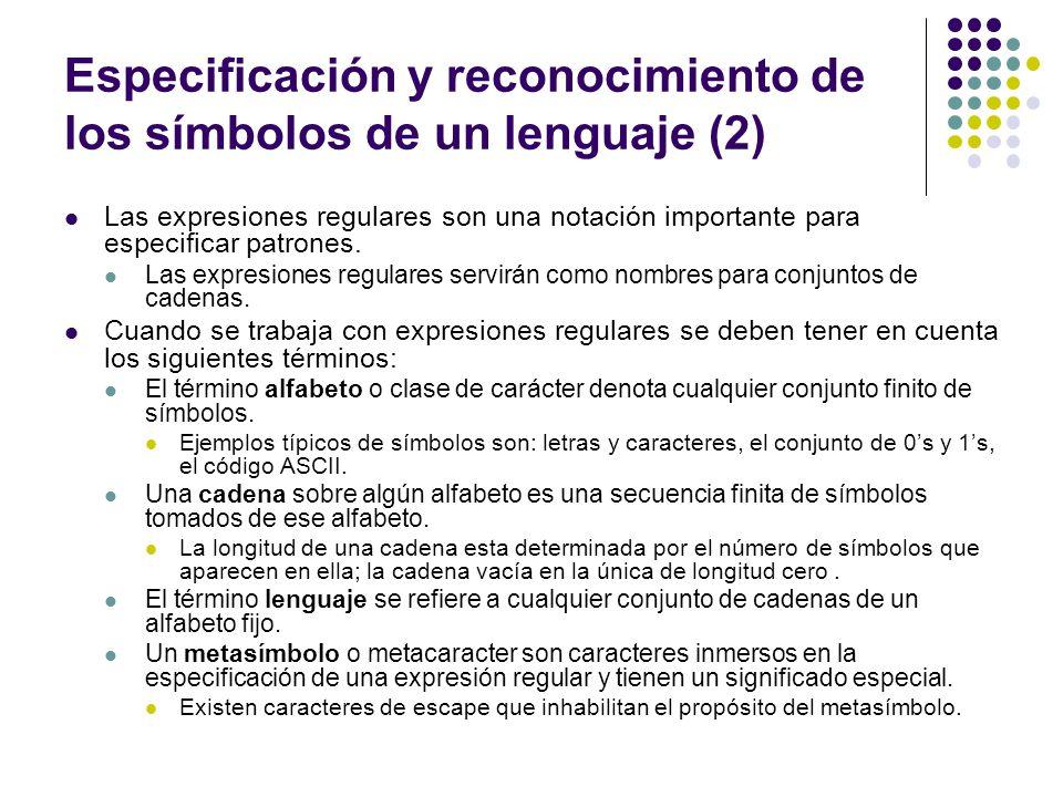 Especificación y reconocimiento de los símbolos de un lenguaje (2)