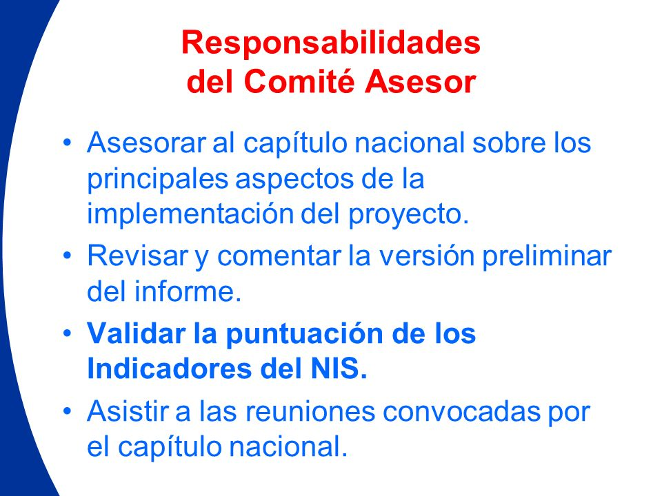 Responsabilidades del Comité Asesor