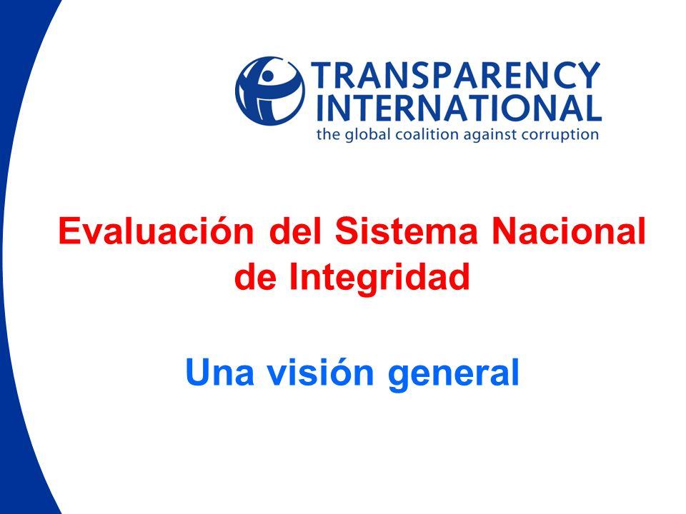 Evaluación del Sistema Nacional de Integridad Una visión general